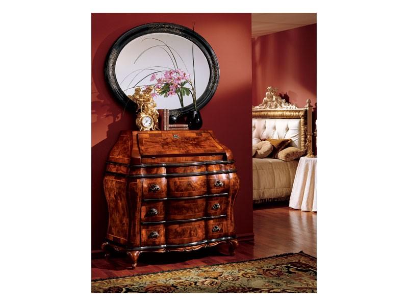 Milano mirror 834, Espejo óvalo con marco de madera, clásico de lujo