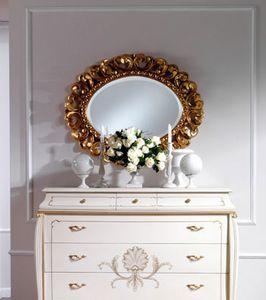 OLIMPIA B / Oval Mirror, Espejo oval clásico de madera maciza tallada