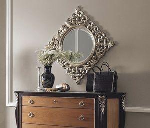 R89 / espejo, Espejo redondo, con marco cuadrado tallado