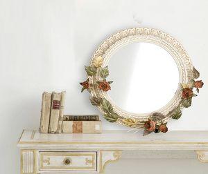 SP.7640, Espejo redondo con decoraciones florales