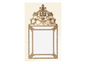 Wall Mirror art. 105, Espejo cuadrado con marco decorado, estilo Luis XIV