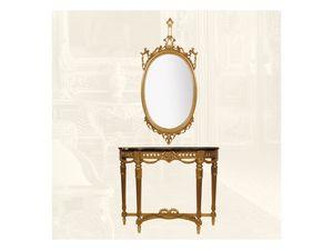 Wall Mirror art. 111/a, Espejo oval hecha de madera de tilo, de estilo clásico