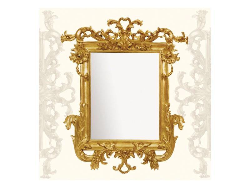 Wall Mirror art. 114, Espejo con molduras de madera tallada