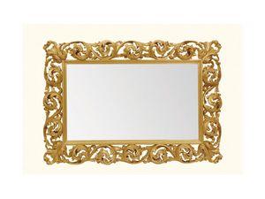 Wall Mirror art. 116, Espejo horizontal con marco de madera tallada