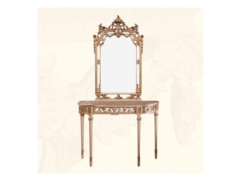 Wall Mirror art. 117/a, Espejo de estilo clásico con acabados en oro y marfil