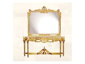 Wall Mirror art. 117/c, Espejo de lujo con marco de madera decorada