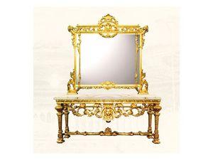 Wall Mirror art. 126/b, Gran espejo cuadrado, estilo Luis XIV
