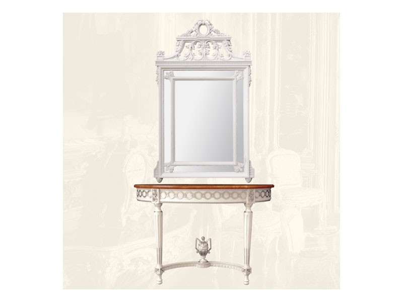 Wall Mirror art. 131, Espejo rectangular con marco de madera, estilo Louis XVI