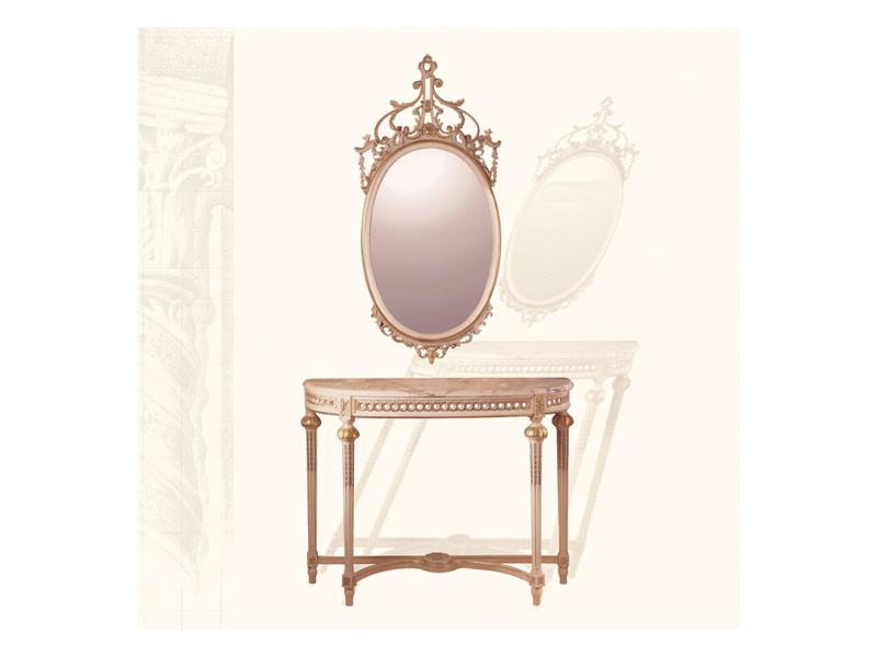 Wall Mirror art. 134, Espejo Oval con moldura tallada, Luis XVI Estilo