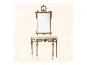 Wall Mirror art. 138, Espejo con marco de madera decorado con flores