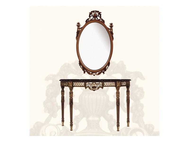 Wall Mirror art. 139, Espejo grande, decorado con hojas y flores
