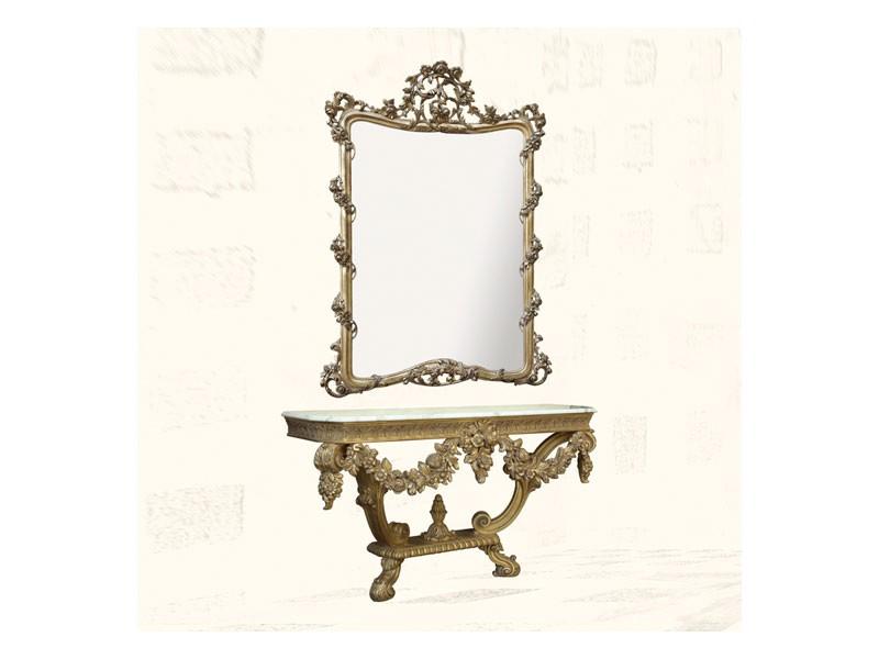 Wall Mirror art. 150, Espejo con acabados en pan de oro, estilo Luis XV
