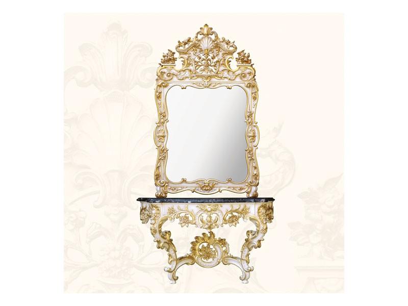Wall Mirror art. 157, Espejo con marco decorado, estilo rococó