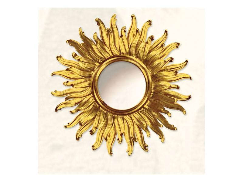 Wall Mirror art. Big Light, Gran espejo con forma de sol, acabados de oro