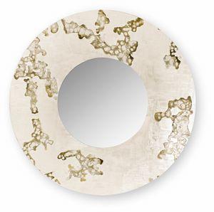 Africa Flowing round, Espejo redondo con marco decorado