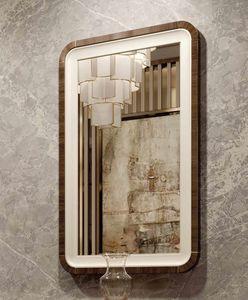 ART. 3378, Espejo con marco de cuero y eucalipto.