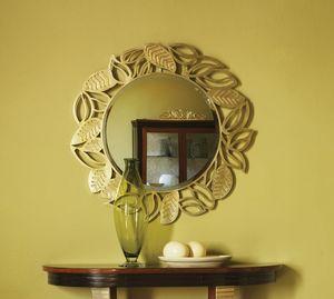 Grand Etoile Art. GE010, Espejo redondo, con marco de hoja.