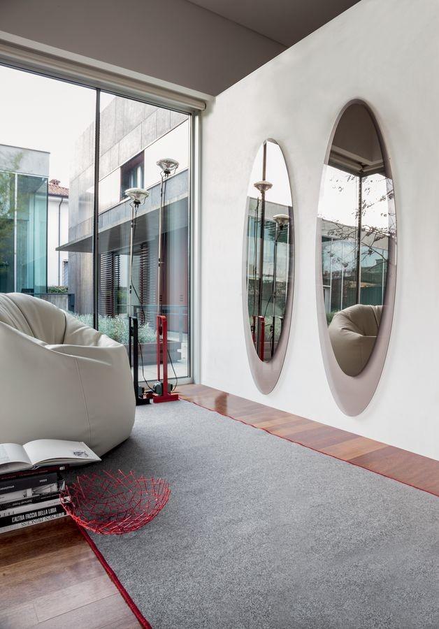 OLMI, Elíptica espejo decorativo, marco serigrafiado, sala de estar