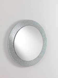 Specchio 01, Espejo redondo con marco de cristal, para mobiliario moderno