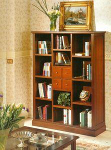 Art. 860, Librería de estilo clásico con cajones y estanterías.