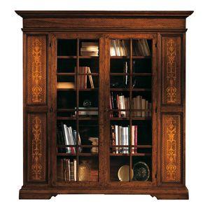 Capoliveri ME.0117, Estantería de madera de nogal con puertas de vidrio 2, de estilo clásico