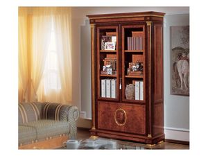 IMPERO / Bookcase with 2 doors, Estantería de madera de fresno burl, estilo clásico de lujo