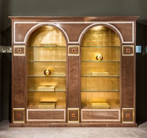 LB34 estanteria, Biblioteca clásica con dos arcos, con estantes de vidrio