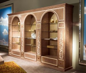 LB35 estanteria, Estantería lusury clásico con estantes de vidrio