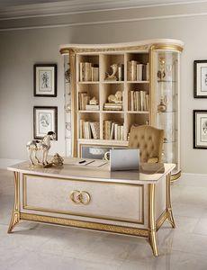 Melodia estante, Biblioteca de estilo clásico, con puertas de vidrio y estantes