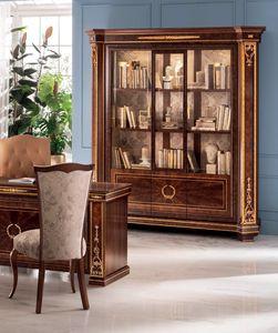 Modigliani estantería 3 puertas, Majestuosa librería con formas armoniosas.