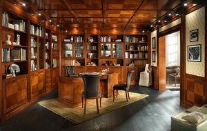 OFICINA, Biblioteca con paneles de madera y falso techo, en estilo clásico