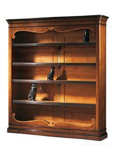 Perugino ME.0932.H, Nogal biblioteca con incrustaciones de 4 estantes ajustables, para ambientes clásicos