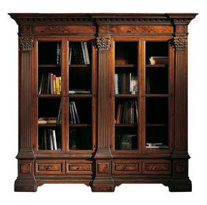 Sillano ME.0124, Estantería en madera de nogal con 4 puertas, espejos de brezo y capiteles corintios, base con dos cajones, para ambientes de estilo clásico