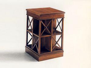 Stevenson, Biblioteca clásica de madera, plataforma giratoria, en caoba sólida