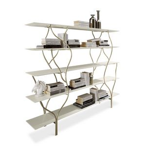 Albero estantería , Estante con marco curvo de metal pulido a mano