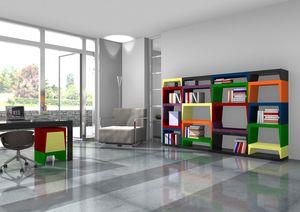 Annabelle, Estantería modular multicolor en lacado laminado