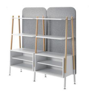 Blog, Librería modular, con contenedores y respaldo tapizado.