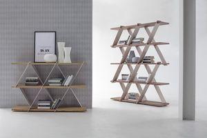 CASTLE, Librería con estructura de metal y estantes de madera