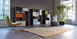 Citylife 25-26-27, Biblioteca moderna de sala de estar, composici�n modular