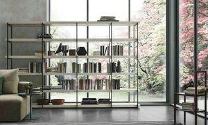 Comp. A102, Librería con estructura de metal y estantes de madera