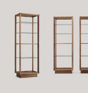 Didier estantería columna, Librería de doble cara con estantes de vidrio