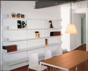 Elle System Living, Estantería de pared, modular, en metal esmaltado, para salón