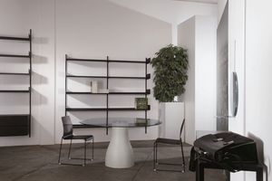 Elle System Shopfitting, Biblioteca modular, en metal esmaltado, adecuado para las farmacias y tiendas
