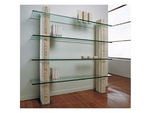 Etnica Bookcase, Estantería de piedra blanca, con estantes de cristal