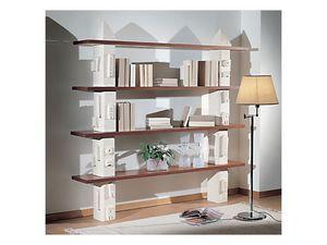Gaia Bookcase, Estantería modular de piedra, estantes de vidrio o madera
