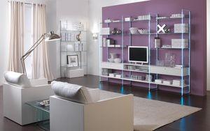 Glassystem comp.01, Lineales Librerías, muebles de sala de estar, estructura de vidrio, estantes de madera o estantes de vidrio