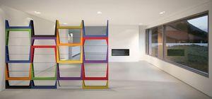 Iride, Biblioteca con estructura de MDF, estantes de vidrio