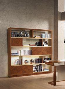 LB39 Desyo estanteria, Estantería de madera de nogal con incrustaciones y el roble, los clásicos salas de estar