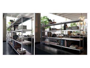 Light, Estantería modular con estantes de acero lacado