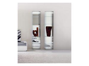 Miss Bookcase, Estantería moderna, en vidrio, con la parte posterior del espejo